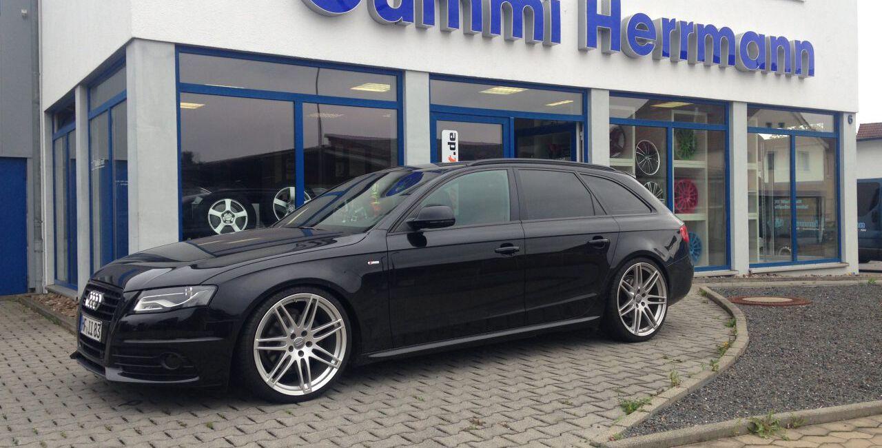Audi A4 8K - H&R Tieferlegung - 8,5x20 S-Line Alufelgen mit 245/30R20 - Endrohrumbau auf S4 Optik